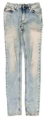 Acne Studios Distressed Mid-Rise Straight-Leg Jeans