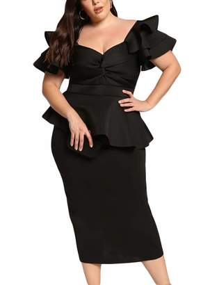 99c7ceb66f1 MuCoo Women s Plus Size Ruffle Sleeve Peplum Bodycon Cocktail Party Pencil  Midi Dress 3X