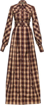 Lena Hoschek Dallas Western Checked Cotton Maxi Dress