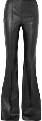 Michael Kors Leather Flared Pants - Black