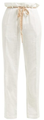 Ann Demeulemeester Raw Seam Tailored Cotton Trousers - Womens - White