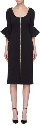 Rebecca Vallance 'Carline' drape ruffle cuff zip front crepe dress