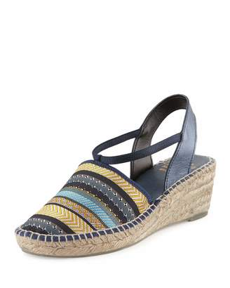 Andre Assous Helena Striped Espadrille Wedge Sandal, Navy