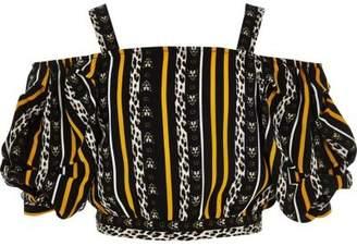 River Island Girls black leopard print cold shoulder top