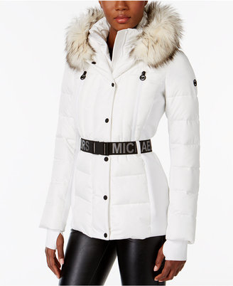 MICHAEL Michael Kors Active Faux-Fur-Trim Belted Puffer Coat