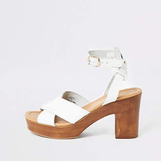 River Island White leather cross platform sandals