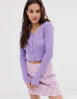 Daisy Street long sleeve button front crop knitted top in lilac