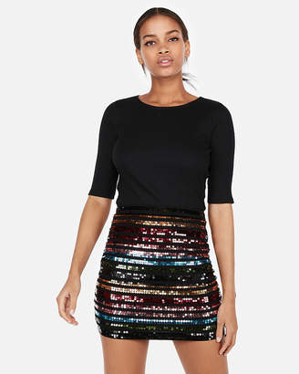 Express Petite High Waisted Double Stripe Sequin Mini Skirt
