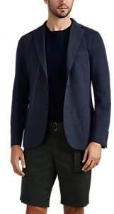 Eleventy Men's Laser-Cut Stretch-Cotton Piqué Two-Button Sportcoat - Navy