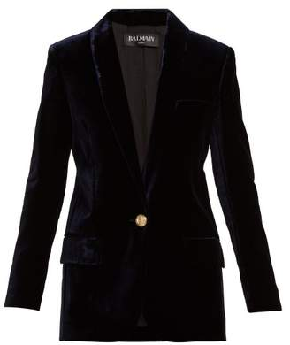 Balmain Single Breasted Velvet Blazer - Womens - Navy