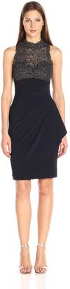 Xscape Evenings Women's Short Ity Dress with Chemical Lace Mock Neck Top