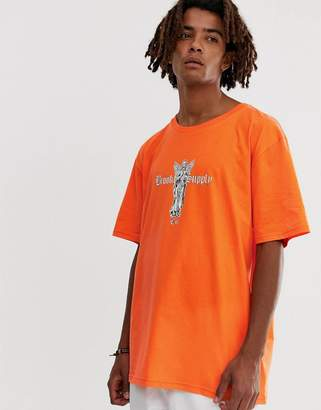 Brooklyn Supply Co. Brooklyn Supply Co drop shoulder t-shirt with print in orange