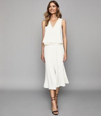 Reiss VIOLA LAYERED MIDI DRESS White