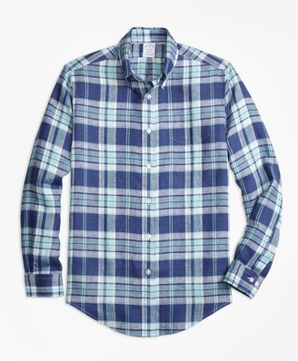 Brooks Brothers Regent Fit Blue Plaid Irish Linen Sport Shirt