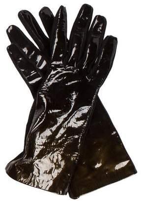 Saint Laurent Suede & Patent Leather Gloves