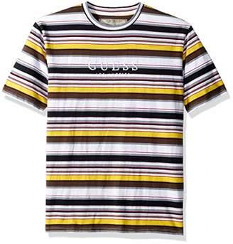 GUESS Men's Short Sleeve Ashton Crew Neck Shirt Stripe Navy Multi