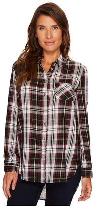 Tribal Long Sleeve Plaid Shirt w/ Printed Back Detail Women's Blouse