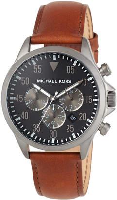 MICHAEL Michael Kors 45mm Gage Leather Chronograph Watch, Black