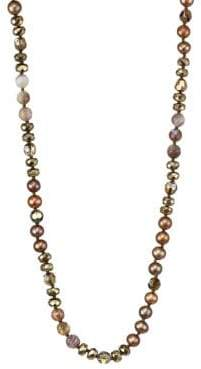 Chan Luu 6MM Dark Champagne Pearl& Sterling Silver Mix Necklace