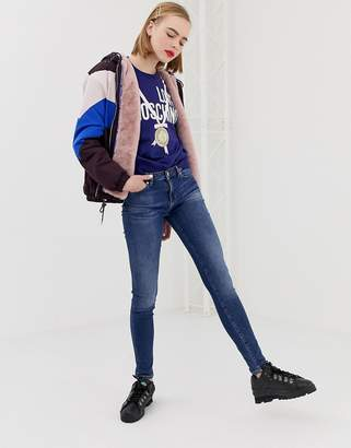 Love Moschino glitter stamp skinny jeans
