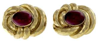 Henry Dunay 18K Yellow Gold & Pink Tourmaline Hammered Earrings