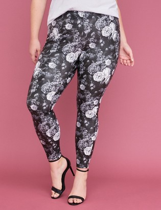 Lane Bryant Floral Printed Faux Leather Legging