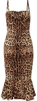 Dolce & Gabbana - Ruched Leopard-print Silk-cady Midi Dress - Leopard print $3,595 thestylecure.com