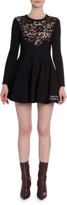 Valentino Long-Sleeve Lace-Inset Jersey Dress