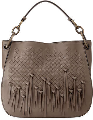 Bottega Veneta Charleston Fringe Loop Small Intrecciato Woven Hobo Bag