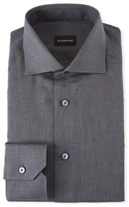 Ermenegildo Zegna Men's Heathered Twill Dress Shirt