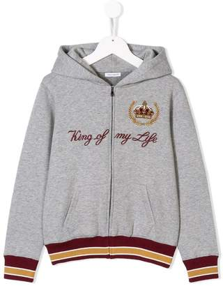 Dolce & Gabbana King of my life zipped hoodie