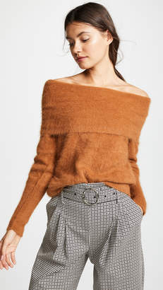 Yigal Azrouel Off Shoulder Angora Sweater