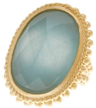 Rivka Friedman 18K Gold Clad Satin Bezel Set Faceted Caribbean Blue Quartzite Beaded Oval Ring