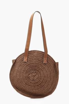 boohoo Contrast Handle Handmade Round Straw Bag