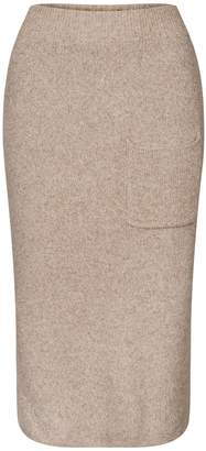 BEIGE Paisie Marl Knitted Skirt With Side Pocket & Back Slit