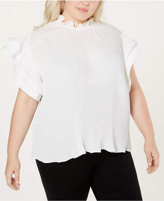 NY Collection Plus Size Pleated Bell-Sleeve Top