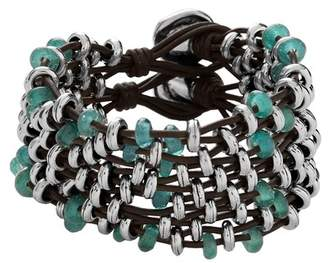 Uno de 50 At Dawn Beaded Crystal Multi Strand Leather Bracelet