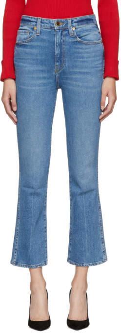 Khaite Blue Benny Crop Flare Jeans