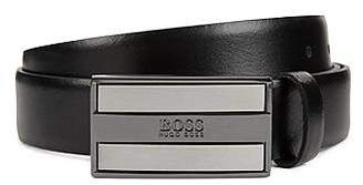 HUGO BOSS Smooth-leather belt with logo-engraved plaque buckle