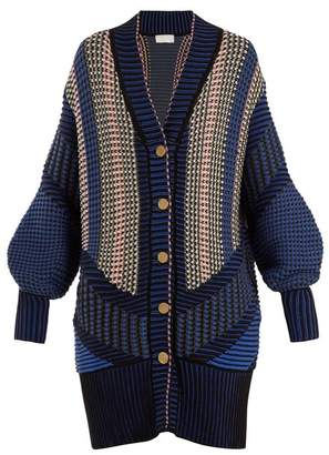 Peter Pilotto Striped Cotton Blend Cardigan - Womens - Navy Multi
