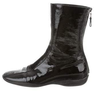 Prada Patent Leather Square-Toe Boots