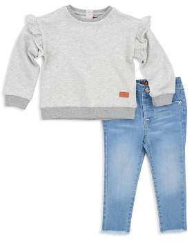 7 For All Mankind Girls' Ruffled Sweatshirt & Frayed Skinny Jeans Set - Little Kid