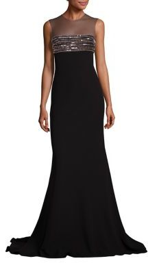 Carmen Marc Valvo Beaded Illusion Gown $1,275 thestylecure.com