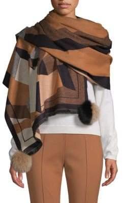 La Fiorentina Fox Fur Pom-Pom Print Wrap Scarf