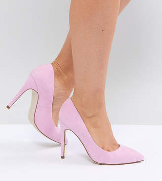 Asos DESIGN PARIS Wide Fit pointed high heeled pumps in pink