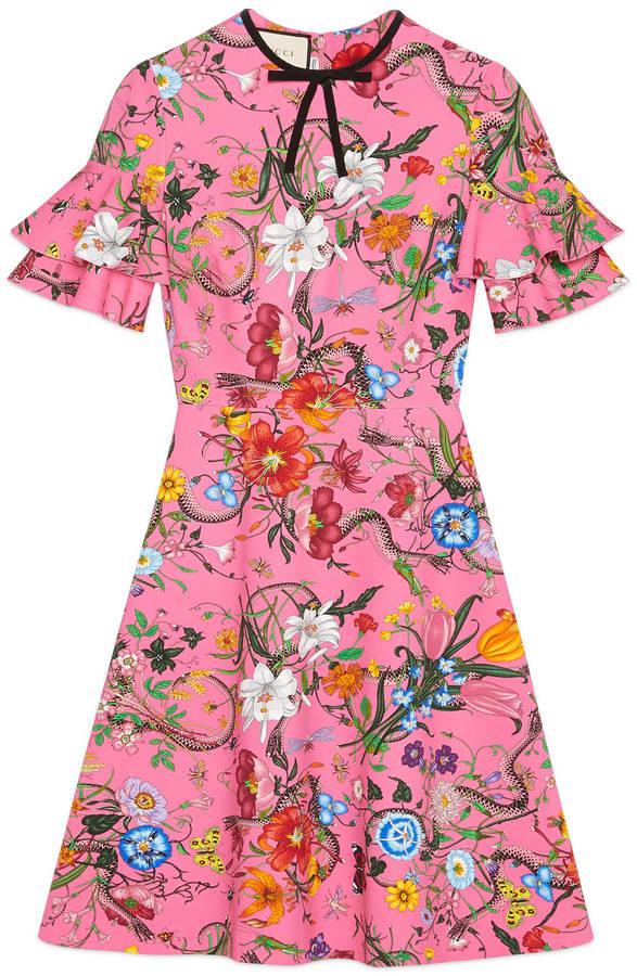 Flora Snake print jersey dress