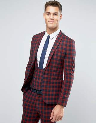 Asos Design Super Skinny Suit Jacket In Navy And Red Check