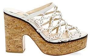 Jimmy Choo Women's Dalina Braided Leather Mesh Mule Sandals