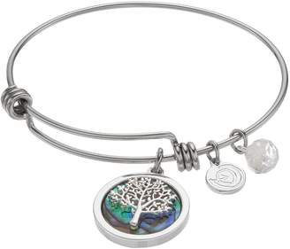 Love This Life love this life Abalone Family Tree Charm Bangle Bracelet
