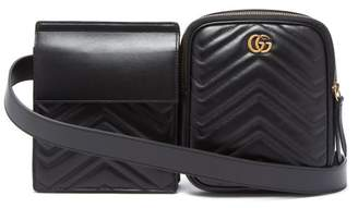 Gucci Gg Marmont Leather Belt Bag - Mens - Black